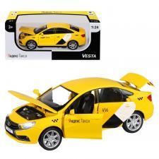 Машинка металлическая Яндекс.Такси, инерционная, коллекционная модель LADA VESTA, цвет желтый, масштаб 1:24, открываются 4 двери, капот, багажник, озвучено ЯНДЕКС.ТАКСИ, свет, звук