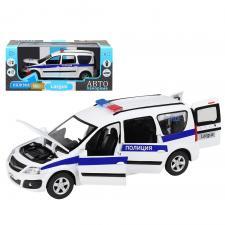 """Машинка металлическая Автопанорама, инерционная, коллекционная модель LADA LARGUS, масштаб 1:24, """"Полиция"""", свет, звук, открываются 4 двери, капот, багажник"""
