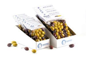 Greek Product Ассорти оливок из сортов каламата и халкидики в вакуумной упаковке.