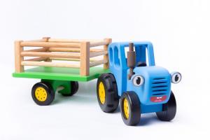 """Игрушка деревянная """"Синий Трактор с прицепом"""""""