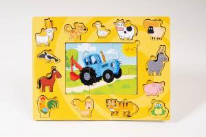 Деревянная игра «Синий трактор и животные»